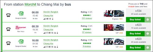 bus tickets in thailand